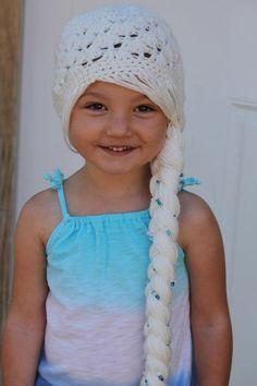 Free Knitting Frozen Crochet Hat Pattern With Long Side Braid - Girl Hat, Frozen Hat