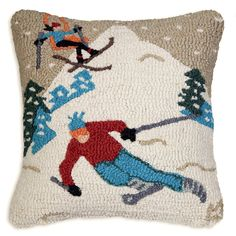 Welcome to our new category of ski lodge decor. Decorate your cabin with snowshoes, snowshoe lamps, ski signs and much more. Wool Pillows, Cushions, Throw Pillows, Wool Rugs, Ski Lodge Decor, Chalet Design, Rug Hooking, Skiing, Embroidery Designs
