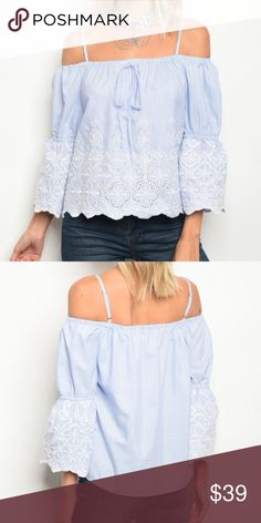 737b8fa736351 Off Shoulder Blue and White Striped Top Adorable off shoulder top with  embroidered detail. Content  100% polyester. Tops