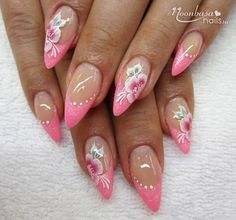 Uñas One Stroke, One Stroke Nails, Beautiful Nail Art, Gorgeous Nails, Pretty Nails, Nail Art Designs, Creative Nail Designs, Pink Nail Art, Pink Nails