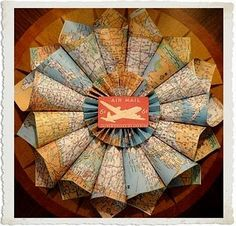 DIY: Map Wreath, for an airplane themed room!