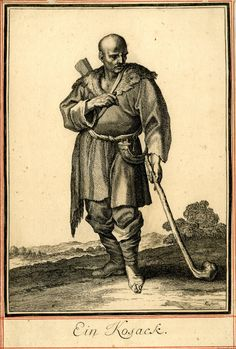 """A Cossack, whole-length, wearing leather clothes, a drinking-horn hanging from his belt and holding a club; illustration to Abraham a Sancta Clara's """"Neu-eröffnete Welt-Galleria"""" (Nuremberg: 1703)."""