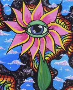 Cute Canvas Paintings, Easy Canvas Art, Small Canvas Art, Mini Canvas Art, Indie Drawings, Trippy Drawings, Psychedelic Drawings, Art Drawings, Hippie Painting