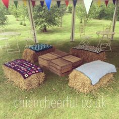 HANDMADE HAY BALE BLANKETS: The perfect addition for hay bale seating - we have a heap of handmade crochet blankets, to drape across hay bales. These blankets are a mixture of shapes and sizes, ideal for a vintage look. Large Picnic Blanket, Rockabilly Vintage, Hay Bale Seating, Fire Pit Party, Village Fete, Deco Champetre, Estilo Country, Carnival Wedding, Vintage Picnic