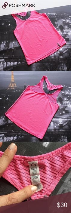 Under Armour Pink Tank Top Size small Under Armour run pink tank top. Looks like mesh but it's not see through. No defects to it. I'm only looking to sell at this time so sorry but no trades. Under Armour Tops Tank Tops