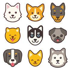 different breeds of dogs. husky corgi pug chihuahua doberman etc. Cartoon Cartoon, Corgi Cartoon, Cartoon Drawings, Cute Dog Cartoon, Chihuahua Mini Toy, Creel Chihuahua, Akita Dog, Corgi Pug, Dog Face Drawing