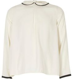 River Island Girls white peter pan pleated top