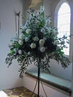 large formal white and cream church pedestal arrangements with - Google Search