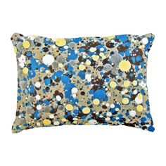 Abstract Blue Paint Dot Accent Pillow
