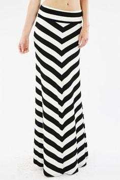 Black and White Chevron Print Maxi Skirt - Cozy Couture