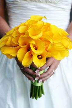 i love this with some white calla lilies to dull down the brightness of the yellow