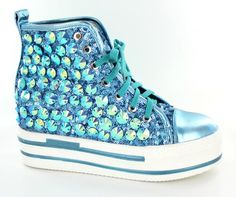 Helen's Heart Turquoise Bling High Top Platform Sneakers.