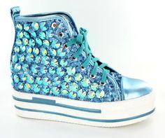 Helen's Heart Turquoise Bling High Top Platform Sneakers.