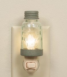 Mason Jar Night Light - Barn Roof