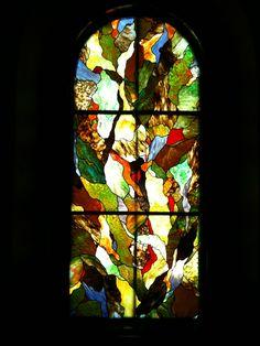 Abstract stained glass hallway window, Degenhardt Studios