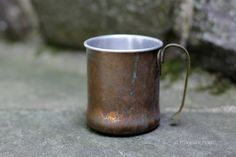Vintage Metal Mug. Copper exterior Silver by NorthMajestyTrail