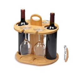 Wine Bottle Holder Glass Cup Rack w/Handle Free Wood Handle Corkscrew - Wine Organizer Bamboo Stand Countertop Tabletop Display Wine Bottle Glass Holder, Wood Wine Racks, Wine Glass Holder, Wine Holders, Wine Bottles, Bottle Stoppers, Bottle Labels, Wine Rack Inspiration, Wood Crafts