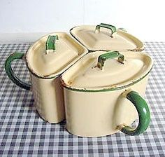 Three piece enamel ware ~ handled canister set (cream and jadeite green). Vintage Canisters, Vintage Enamelware, Vintage Kitchenware, Vintage Tins, Vintage Dishes, Retro Vintage, Kitchenware Set, Tableware, Old Kitchen