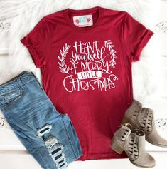 """Celebrate the most wonderful time of year in this super soft t-shirt! Featuring the words """"O Come Let Us Adore Him"""" this super soft women's Christian t-shirt has been expertly designed to last. Christian Christmas ShirtReads: O Come Let Us Adore. Look T Shirt, Shirt Style, Merry Little Christmas, Christmas Diy, Whimsical Christmas, Christmas Tshirts Ideas, Christmas Family Shirts, Kids Christmas Shirts, Christmas Budget"""