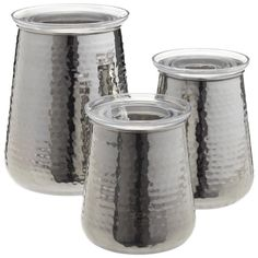 Hammered stainless steel canisters from Container Store