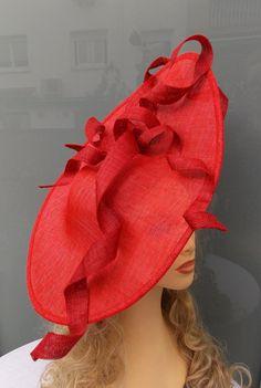 Sinamay headdress Sinamay pamela Red headdress par LidiaArtThings