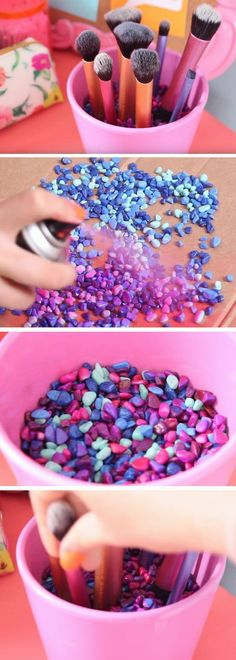 Makeup Brush Pot | 18 DIY Tumblr Dorm Room Ideas for Girls that you will want to recreate! (Diy Decorations For Dorm)