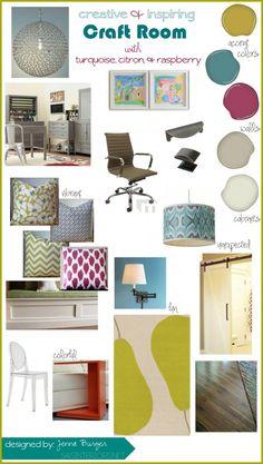 Creative and Inspiring Craft Room Mood Board by @Jenna_Burger, sasinteriors.net