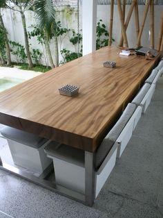 Suar Tisch mit Chromstahlfuss Teak, Outdoor Furniture Sets, Outdoor Decor, Dining Table, Rustic, Home Decor, Bali Furniture, Indoor, Living Room