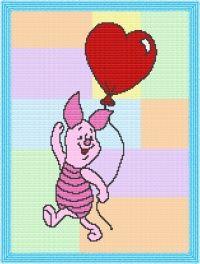 Poohs' Piglet Quilt Afghan Blanket Graph Crochet Pattern