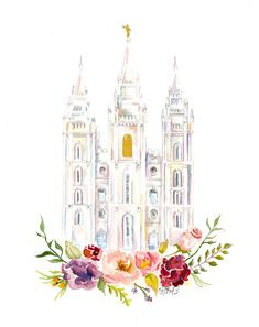 Salt Lake City Temple (LDS) watercolor available on etsy by Sweet n' Sandy