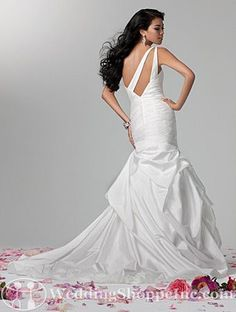 Alfred Angelo Bridal Gown 2385. Whoa, look at the back on this one-shoulder wedding dress! #wedding #weddingdress #weddingstyle http://www.weddingshoppeinc.com