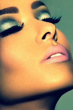 Sparkly Eyeshadow, Falsies, Nude Lips.....would be cute for work at the club.