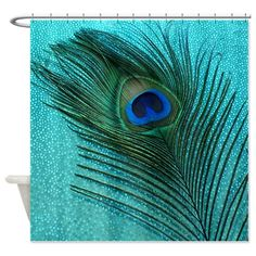 Metallic Aqua Peacock Shower Curtain on CafePress.com