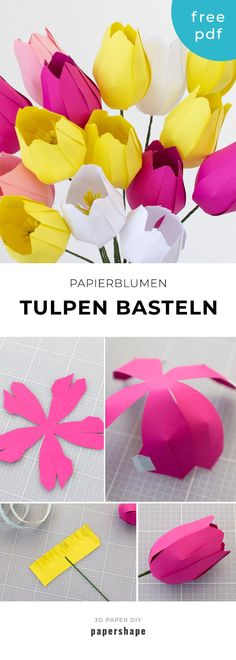 Make paper flowers: simple tulips (with template)-Papier Blumen basteln: Einfache Tulpen (mit Vorlage) Tinker paper flowers: simple tulips for spring with template and instructions crafting flowers - Paper Flowers Craft, How To Make Paper Flowers, Large Paper Flowers, Paper Flower Wall, Paper Flower Backdrop, Paper Roses, Flower Crafts, Diy Flowers, Flower From Paper
