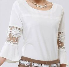 2014 New Womens Chiffon Lace Hollow Crew Neck Casual Shirt Blouse Plus Size Tops White Chiffon Blouse, Chiffon Shirt, Frill Blouse, Umgestaltete Shirts, Shirt Blouses, Plus Size Tops, Plus Size Blouses, Blouse Styles, Blouse Designs
