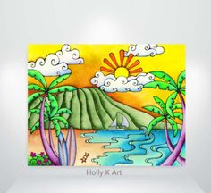 Island Life - Holly K Hawaii Aloha Gallery Oil Pastel Drawings, Oil Pastel Art, Easy Drawings, Landscape Drawing Easy, Landscape Pencil Drawings, Basic Drawing, Drawing For Kids, Art Lessons For Kids, Art For Kids