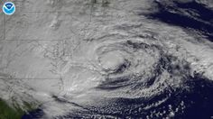 This NOAA GOES-13 satellite image taken on October 29, 2012 shows Sandy off the coast of Delaware and New Jersey.