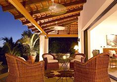 Relax in the evening on your private terrace at Cantarana in Punta Mita.  Luxury villa vacation rentals are available through Casa Bay Villas.
