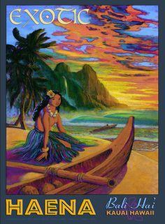 Hawaii Bali Hai Kauai Giclee Art Print Exotic Haena