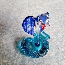 BLUE COBRA POISON CRYSTAL VINTAGE GLASS HAND BLOWN COLLECT HOME...