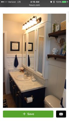 Love The Extra E With Medicine Cabinet And Wainscoting