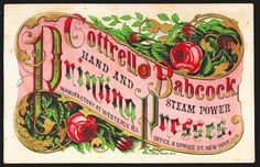 COTTRELL & BABCOCK PRINTING PRESSES -RARE  1870s WOOD ENGRAVED COLOR TRADE CARD  #COTTRELLBABCOCKPRINTINGPRESSES