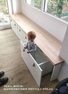 diy hacks wohnung : IKEA Hack: Banktruhen Stuva / Flja als Sitzbank . Bedroom Storage Ideas For Clothes, Bedroom Storage For Small Rooms, Kids Bedroom, Bedroom Decor, Kids Rooms, Boy Rooms, Bedroom Storage Boxes, Living Room Toy Storage, Built In Bench