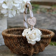 Rustic Flower Girl Basket Personalized, 3 Paper Roses and Tea Dyed Lace via Etsy