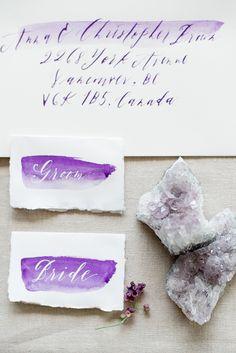 Amethyst and Watercolor Invitation | Christie Graham Photography | Raw Gem Wedding Inspiration
