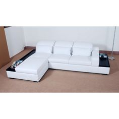 Contemporary Leather Sectional Sofa with Trays