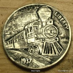 Hobo Nickel Steamtrain Hand Carved Coin by Shaun Hughes Ohns Shaun H Old Coins, Rare Coins, Hobo Nickel, Coin Art, Sculpture Art, Hand Carved, Carving, Ebay, Cool Stuff