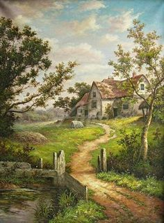 Fantasy Landscape, Landscape Art, Landscape Paintings, Farm Paintings, Scenery Paintings, Beautiful Paintings, Beautiful Landscapes, Watercolor Landscape, Watercolor Paintings