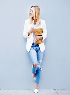 cream blazer + crisp white button up + distressed jeans