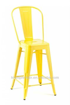 Yellow Tolix High Back Stool/High Back Bar Stool/Marais Tolix bar stool with bac by Shenzhen Kaixinfeng Industrial Co., Made in China High Back Bar Stools, Commercial Furniture, Shenzhen, Industrial, China, Yellow, Kitchen, How To Make, Decor